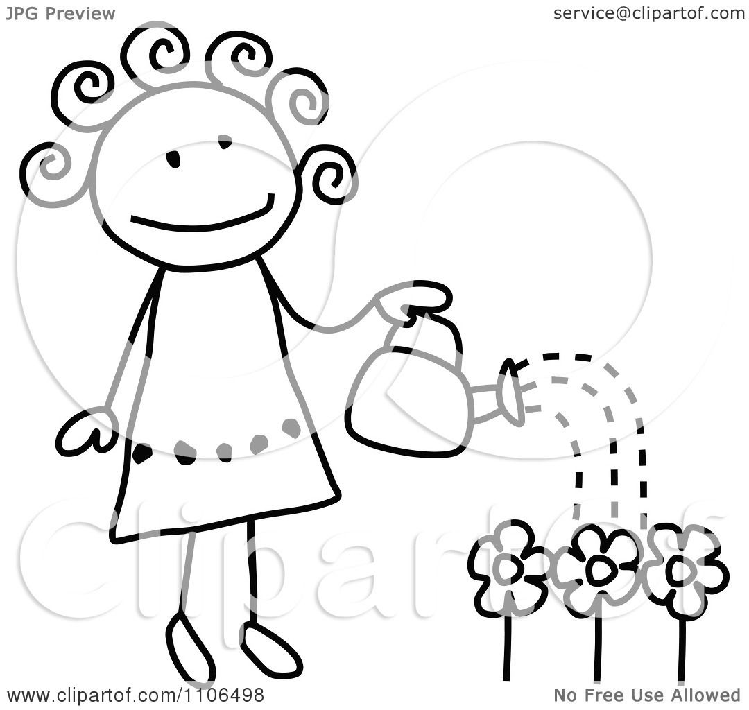 clipart black and white stick drawing of a happy girl watering