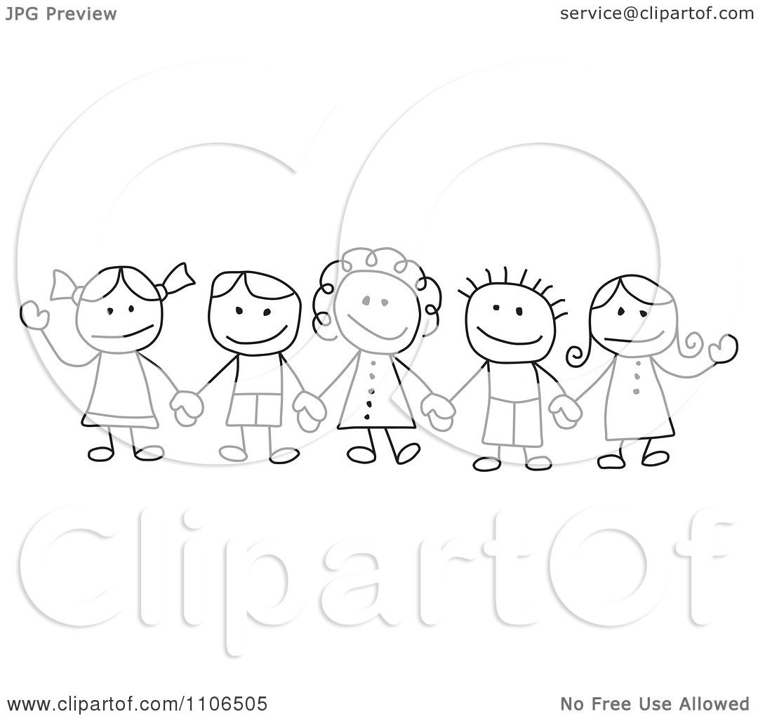 Clipart Black And White Stick Drawing Of Multi Ethnic