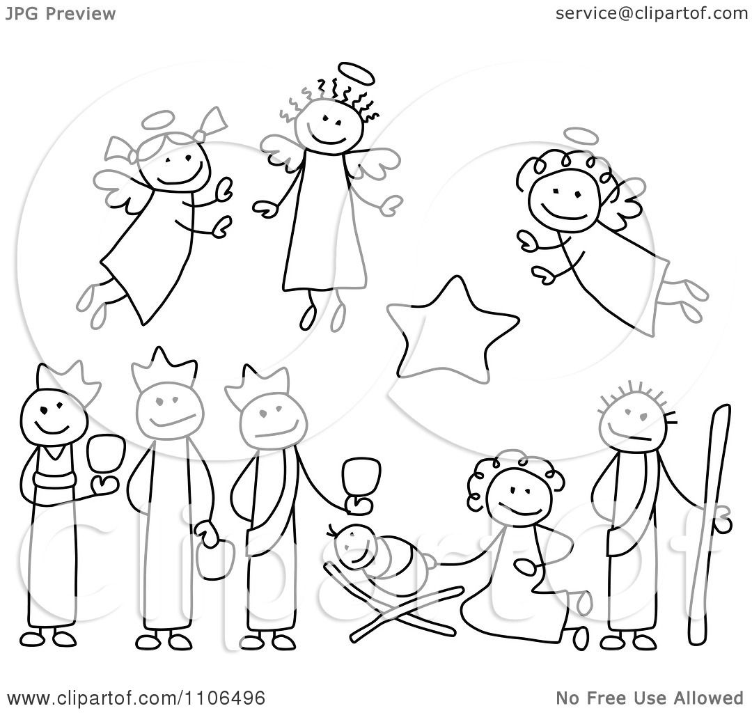 Clipart Black And White Stick Drawings Of Nativity Scene People ...