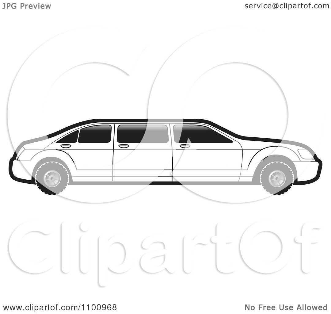Clipart Black And White Stretch Limo Car - Royalty Free Vector ...