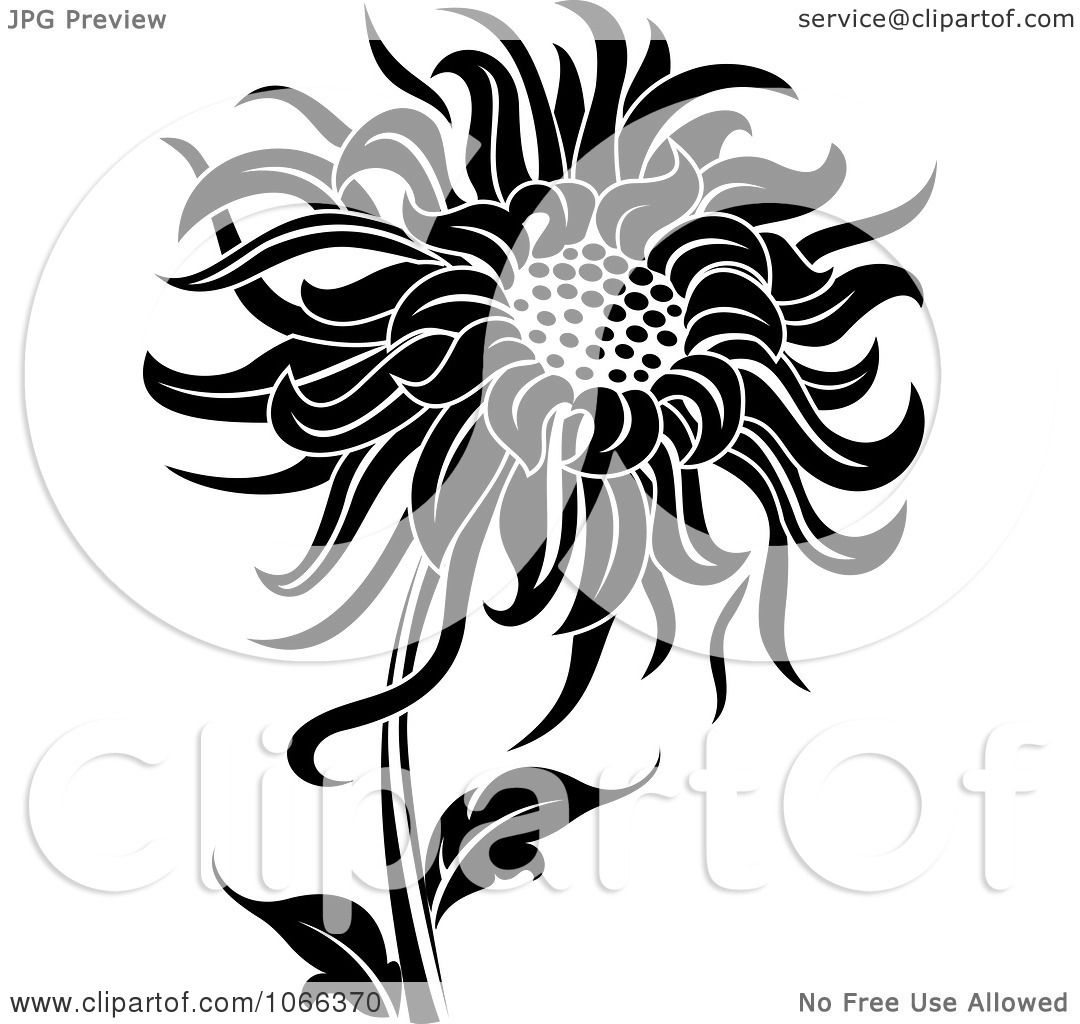 Clipart Black And White Sunflower - Royalty Free Vector ... for Clipart Sunflower Black And White  181obs
