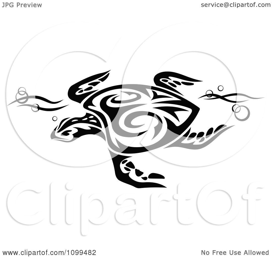 clipart black and white swimming tribal sea turtle
