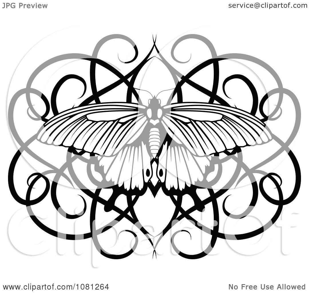 clipart black and white swirl butterfly tattoo design element royalty free vector illustration. Black Bedroom Furniture Sets. Home Design Ideas