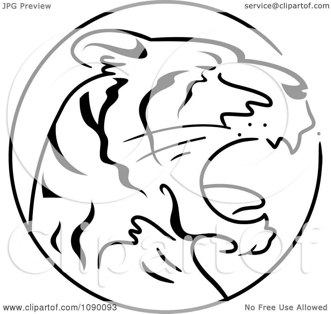 Clipart Black And White Tiger Chinese Zodiac Circle - Royalty Free ...