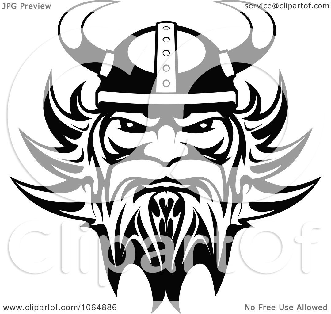 Clipart Black And White Tough Viking Royalty Free Vector