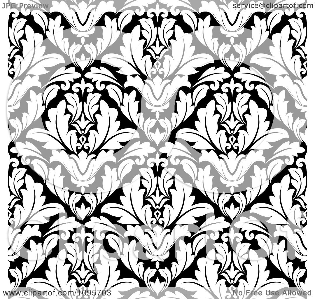 Clipart Black And White Triangular Damask Pattern Seamless ...