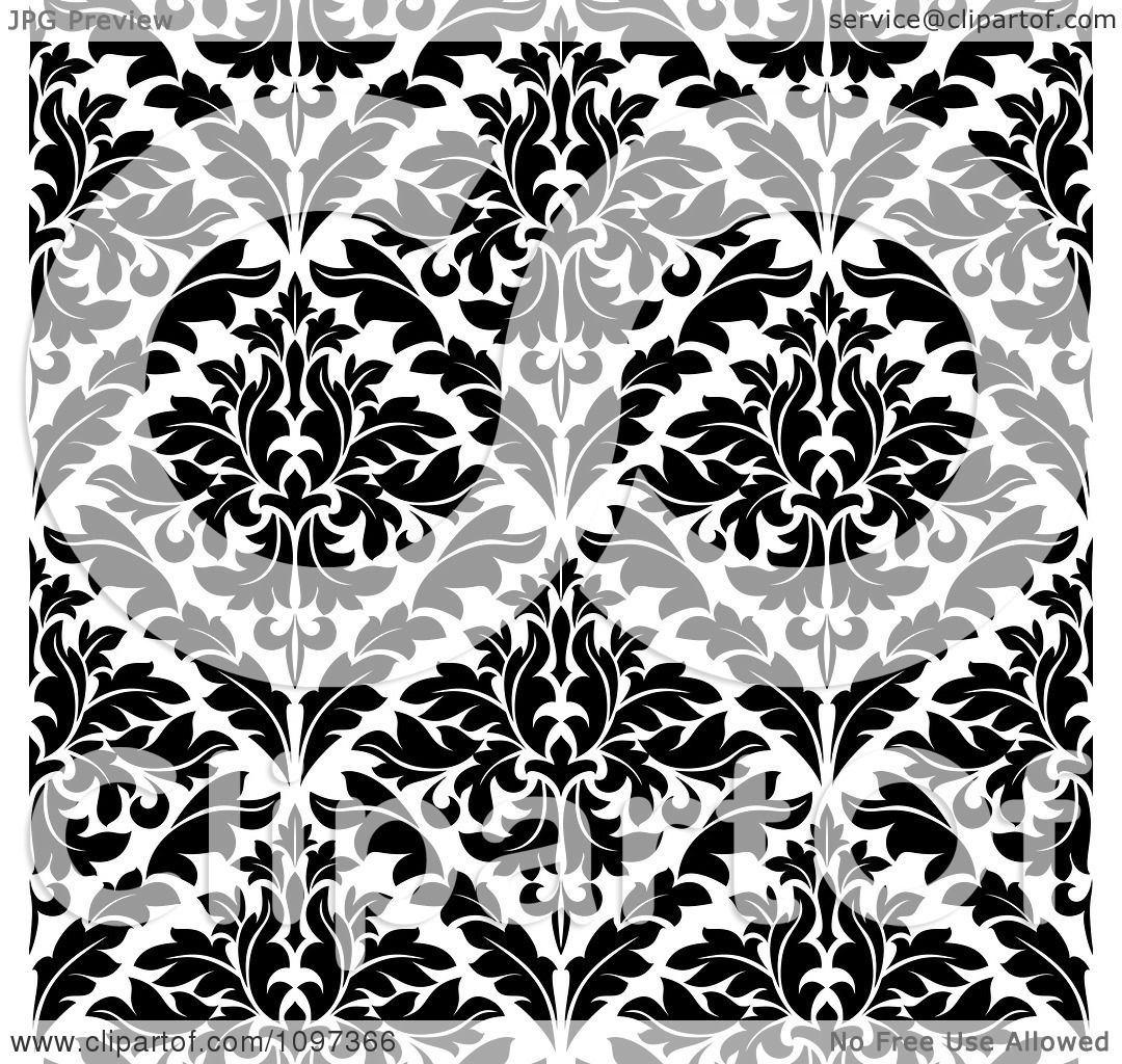 Clipart of a Seamless Background Pattern of Black and
