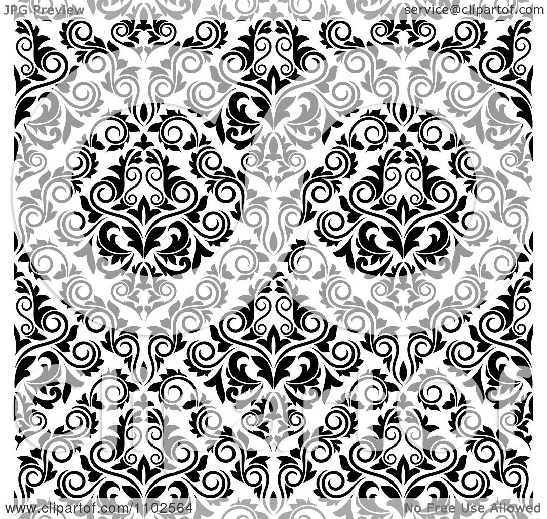 Clipart of a Seamless Background Design Pattern of Black