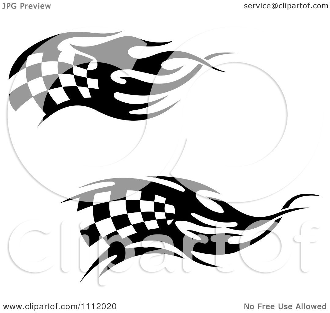 Clipart Black And White Tribal Checkered Racing Flags 4 ...