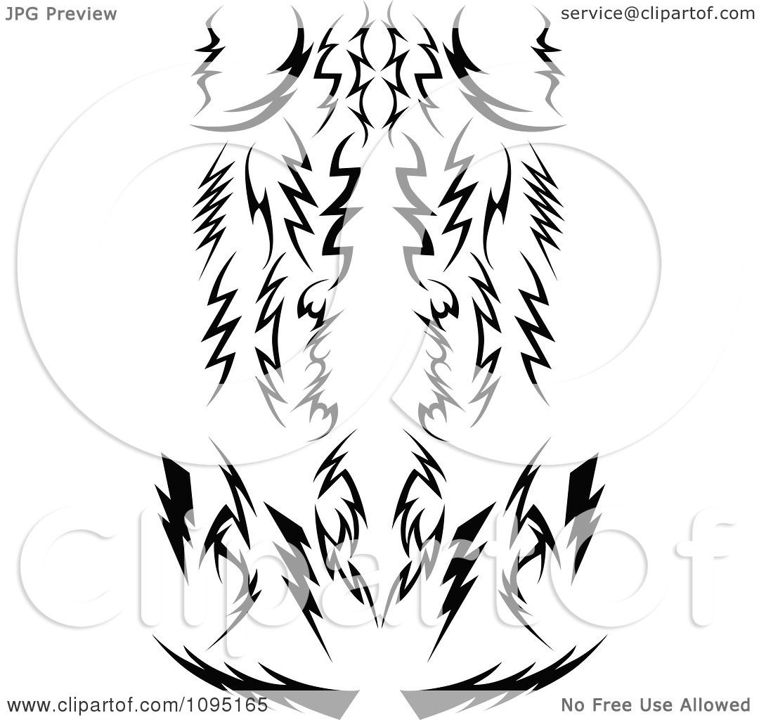 Clipart Black And White Tribal Lightning Bolts Arrows And Designs ...