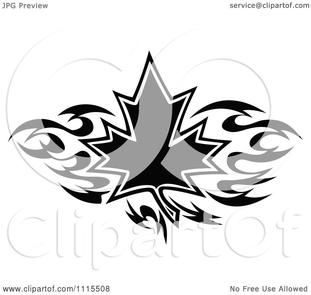clipart black and white tribal maple leaf royalty free vector illustration by vector tradition. Black Bedroom Furniture Sets. Home Design Ideas