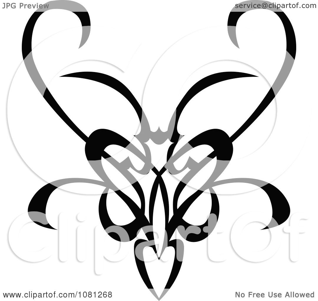 a601eb65c9fe3 Clipart Black And White Tribal Swirl Butterfly Tattoo Design Element - Royalty  Free Vector Illustration by