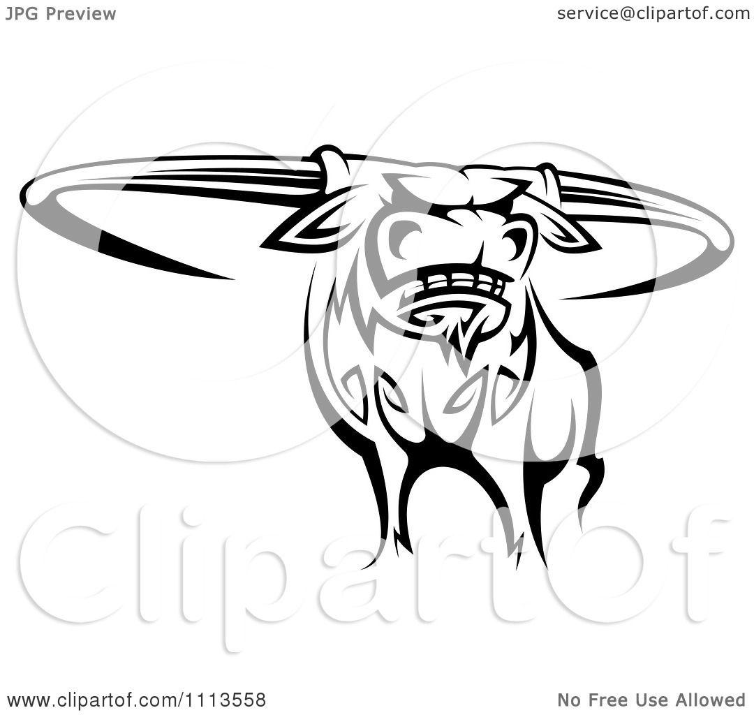 Clipart Black And White Tribal Texas Longhorn Steer Bull 2 Royalty