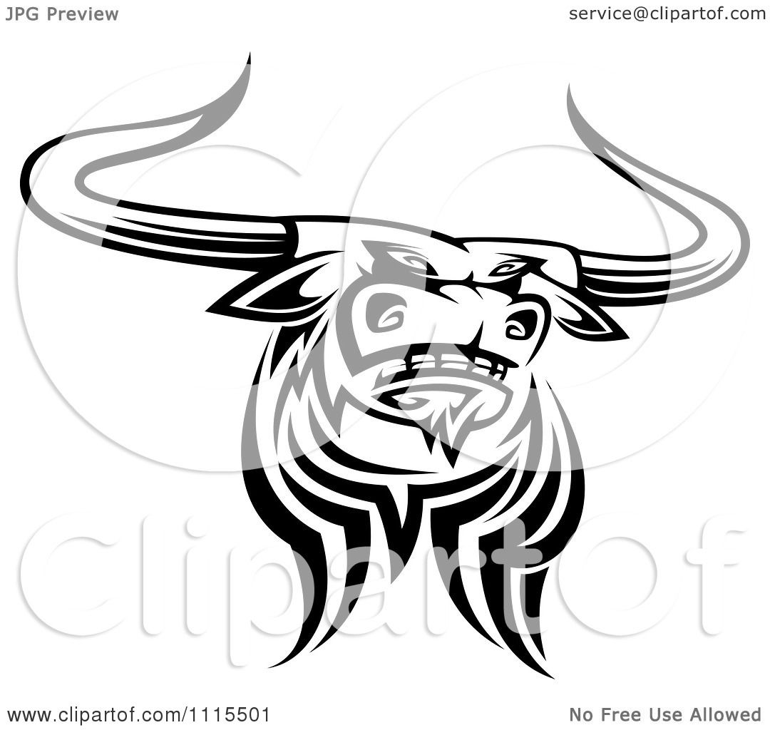 Clipart Black And White Tribal Texas Longhorn Steer Bull 4 - Royalty ...