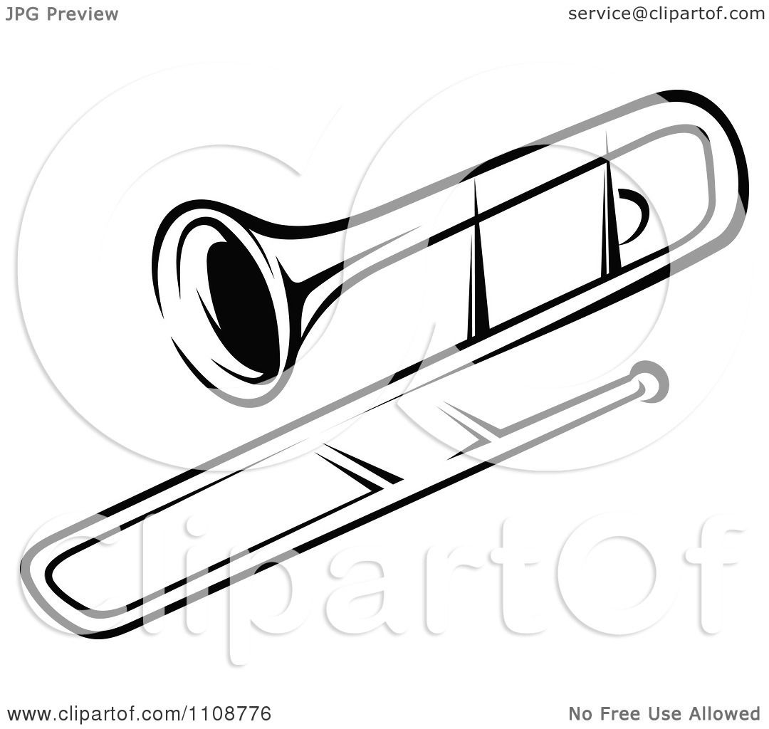 Clipart Black And White Trombone Musical Instrument - Royalty Free ...