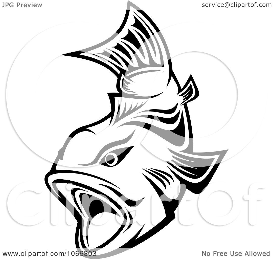 Clipart black and white trout 2 royalty free vector - Clipart illustration ...