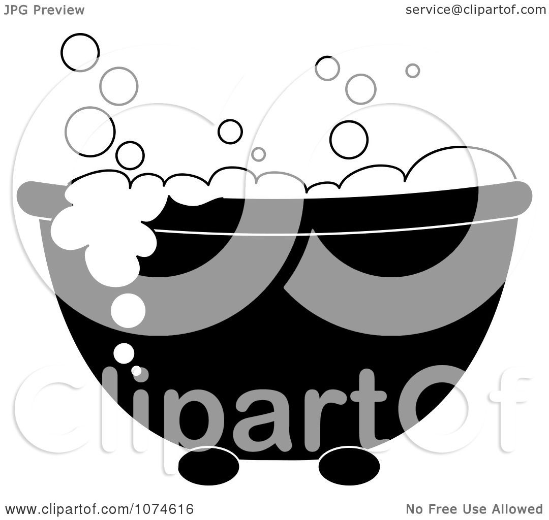 Bathroom Clip Art Black And White: Clipart Black And White Tub With Sudsy Bubble Bath