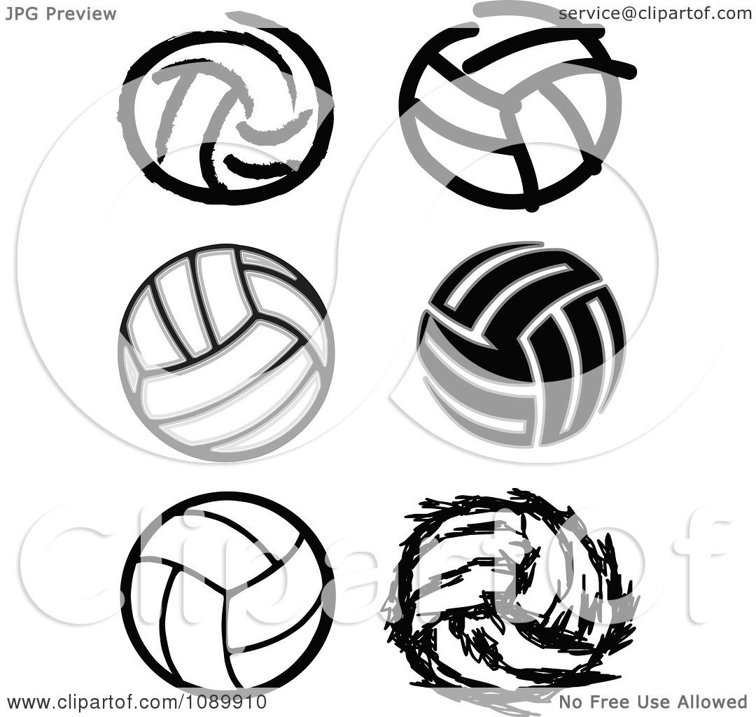 Clipart black and white volleyball icons royalty free - Clipart illustration ...