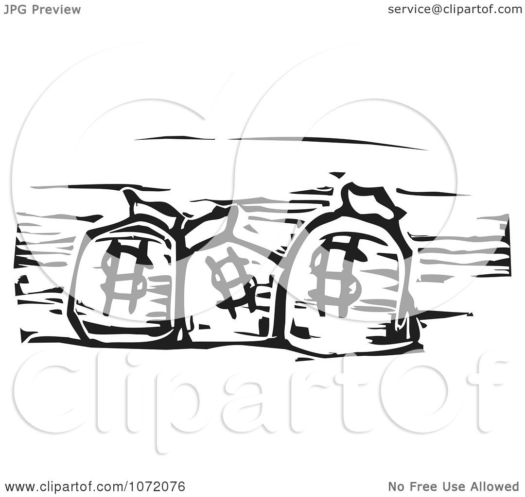 Clipart Black And White Woodcut Of Dollar Bank Money Bags Royalty