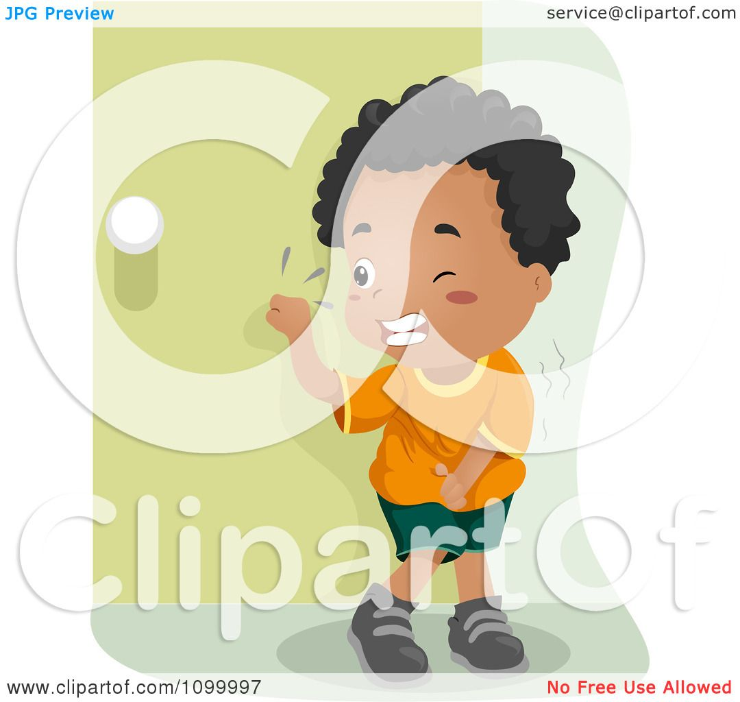 Clipart Black Boy Knocking On A Bathroom Door And Trying Not To Pee His Pants