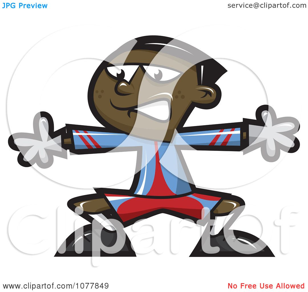 Clipart Black Boy Playing Soccer Goalie - Royalty Free Vector Illustration by jtoons ...