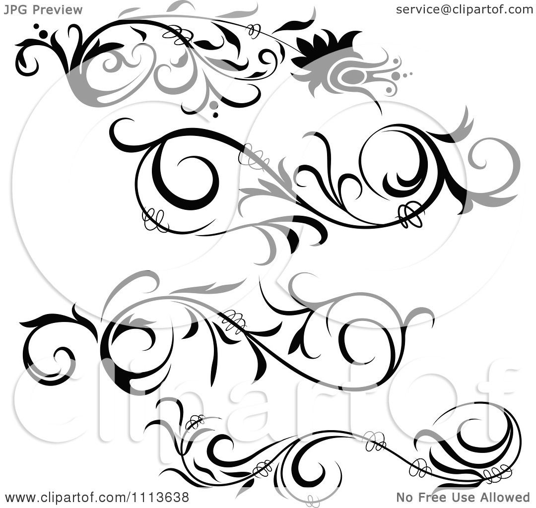Royalty free clipart illustration of black floral design elements, on ...
