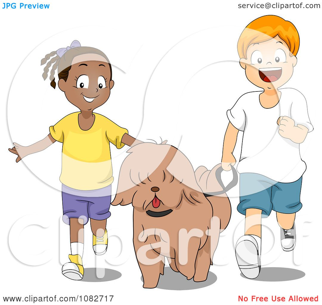 A Black and White Cartoon of Two Children Walking To School - Royalty Free  Clipart Picture