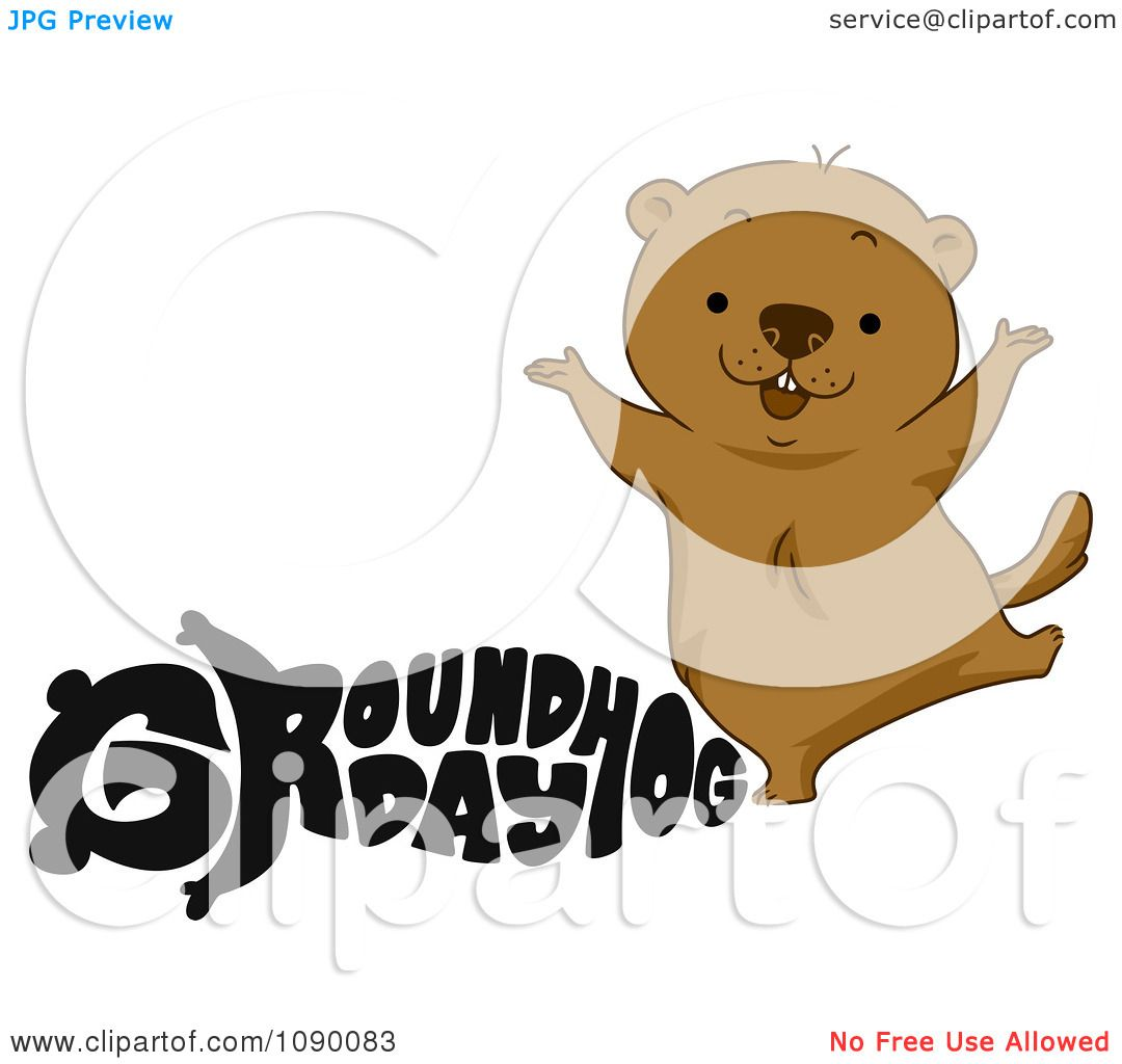 clipart black groundhog day text and a happy woodchuck royalty
