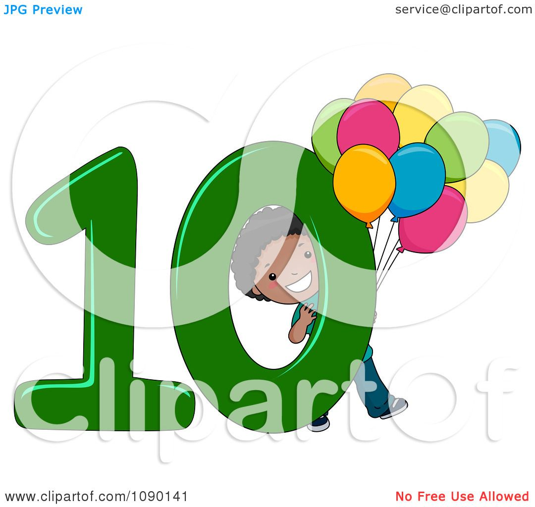 10: Clipart Black School Boy Holding Ten Balloons By Number 10