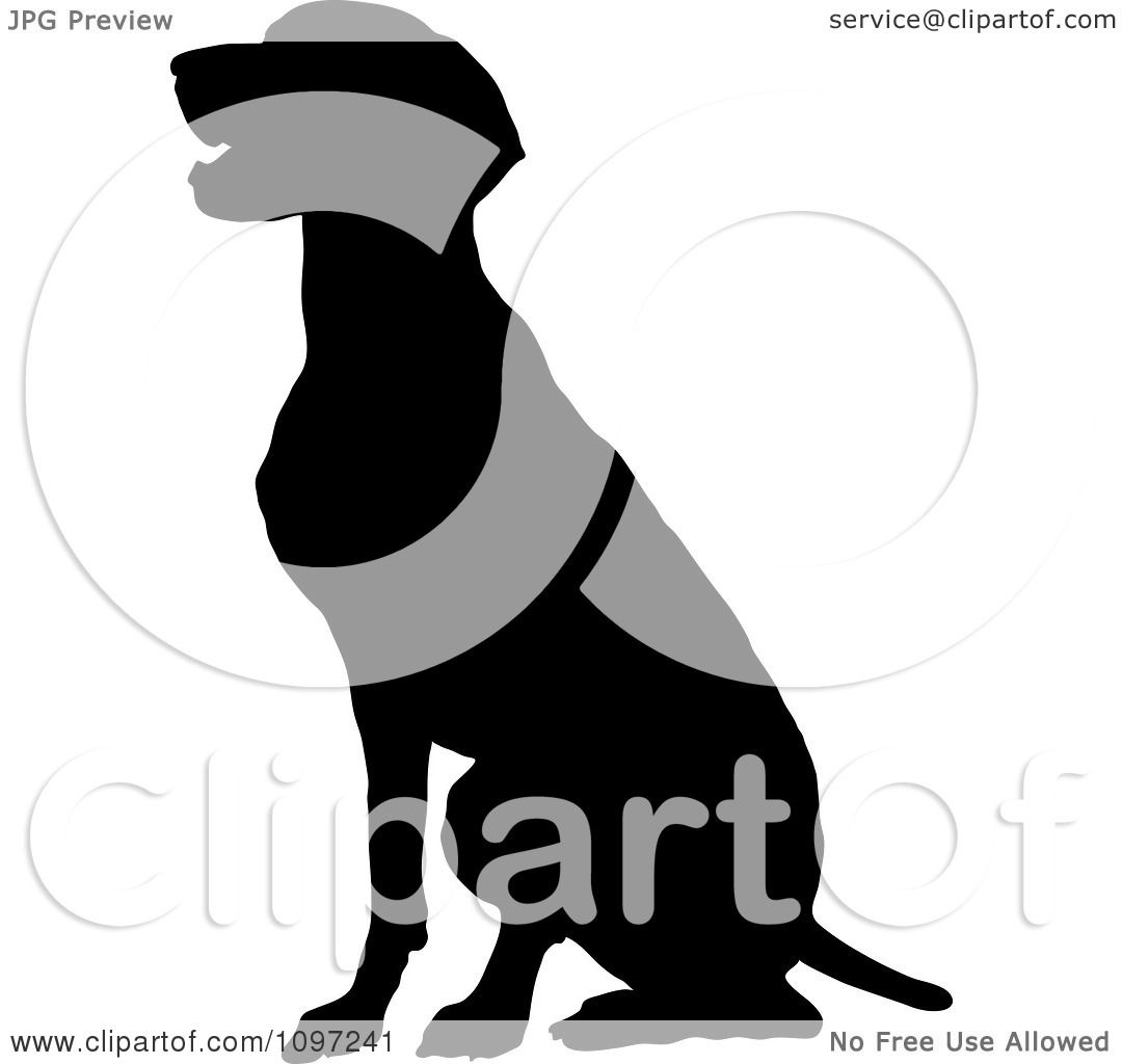 Clipart Black Silhouette Of A Sitting German Pointer Dog - Royalty ...