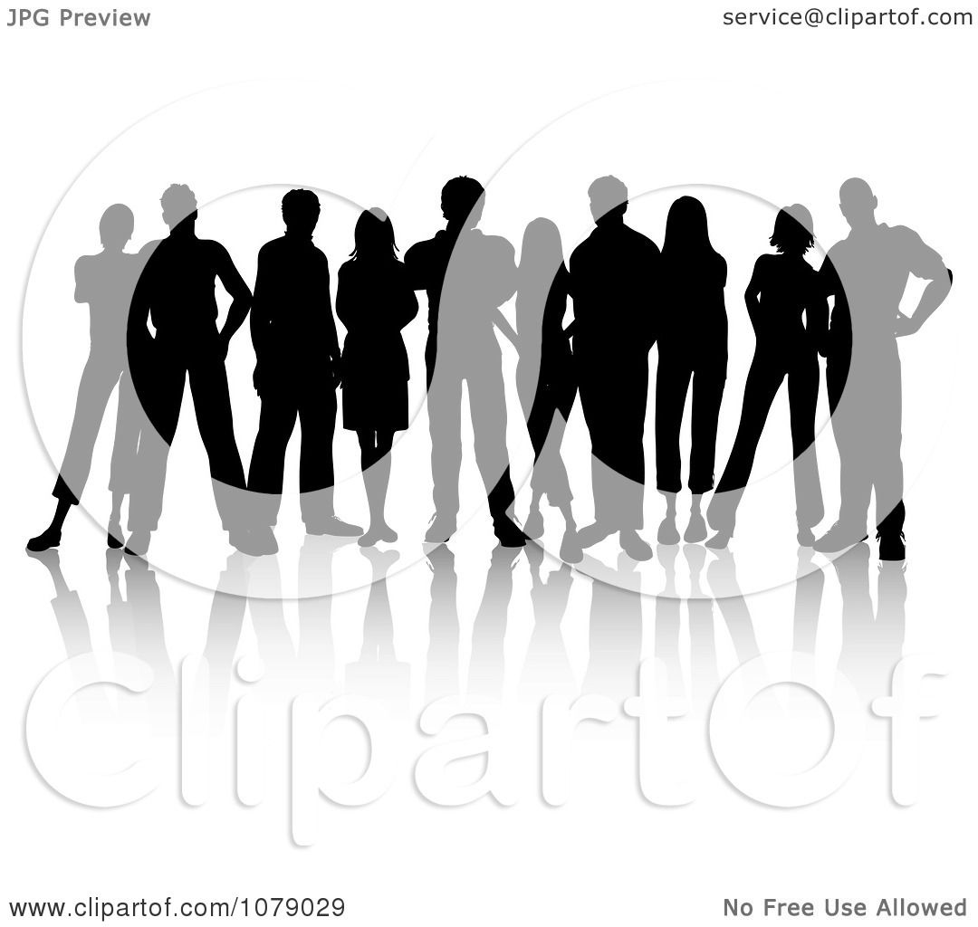 Clipart Black Silhouetted Group Of Young People - Royalty ...