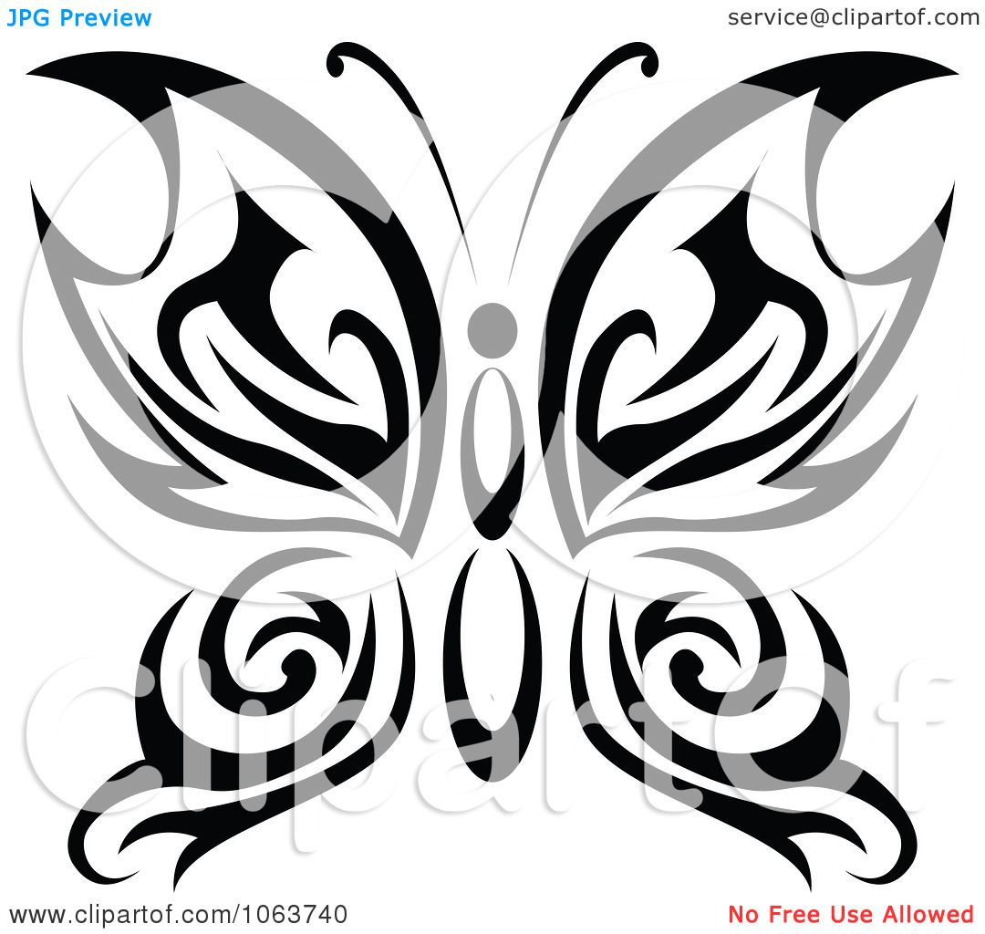 Clipart Black Tribal Butterfly 10 - Royalty Free Vector ...