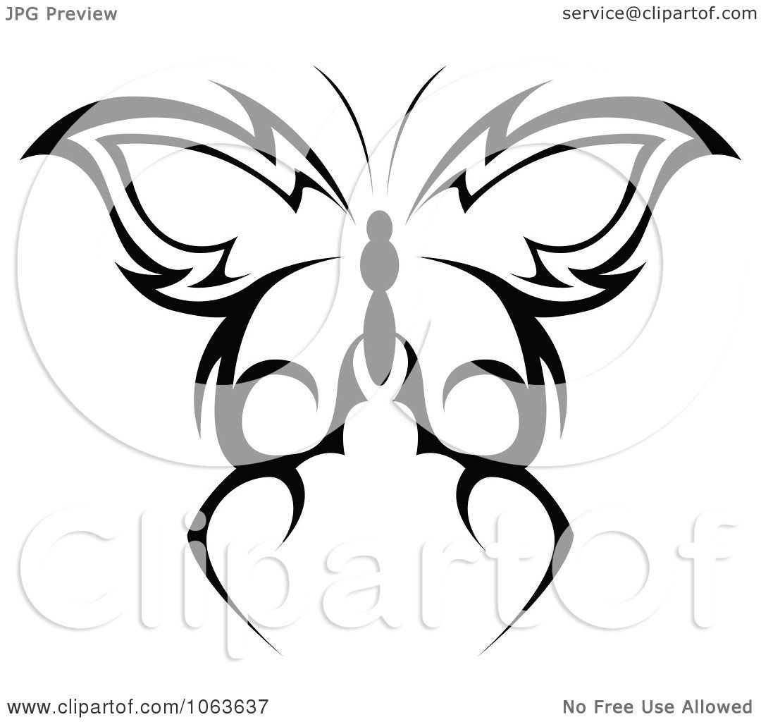 Clipart Black Tribal Butterfly 3 - Royalty Free Vector ...