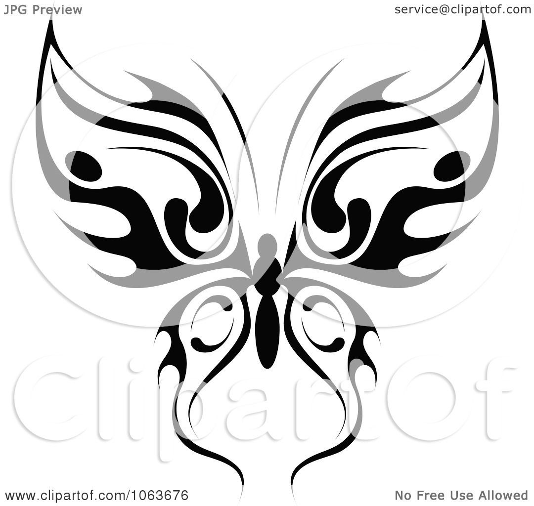 Clipart Black Tribal Butterfly 8 - Royalty Free Vector ...