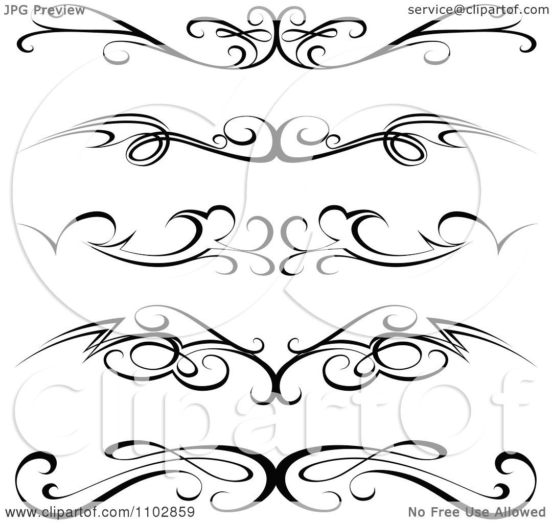 Clipart Black Tribal Tramp Stamp Tattoos Or Rule Border Design Elements Royalty Free Vector