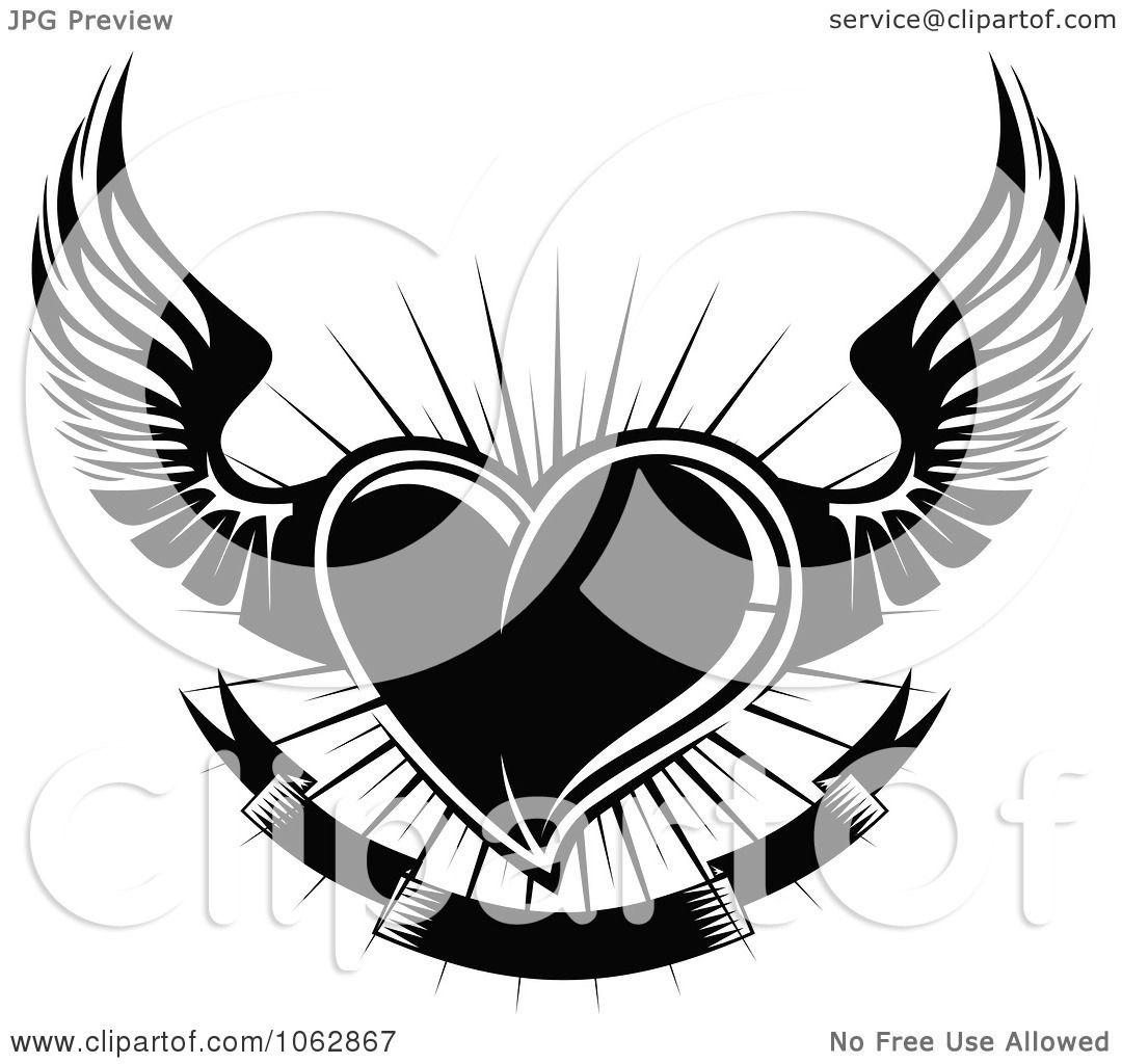 Clipart Black Winged Heart And Banner 2 - Royalty Free ...