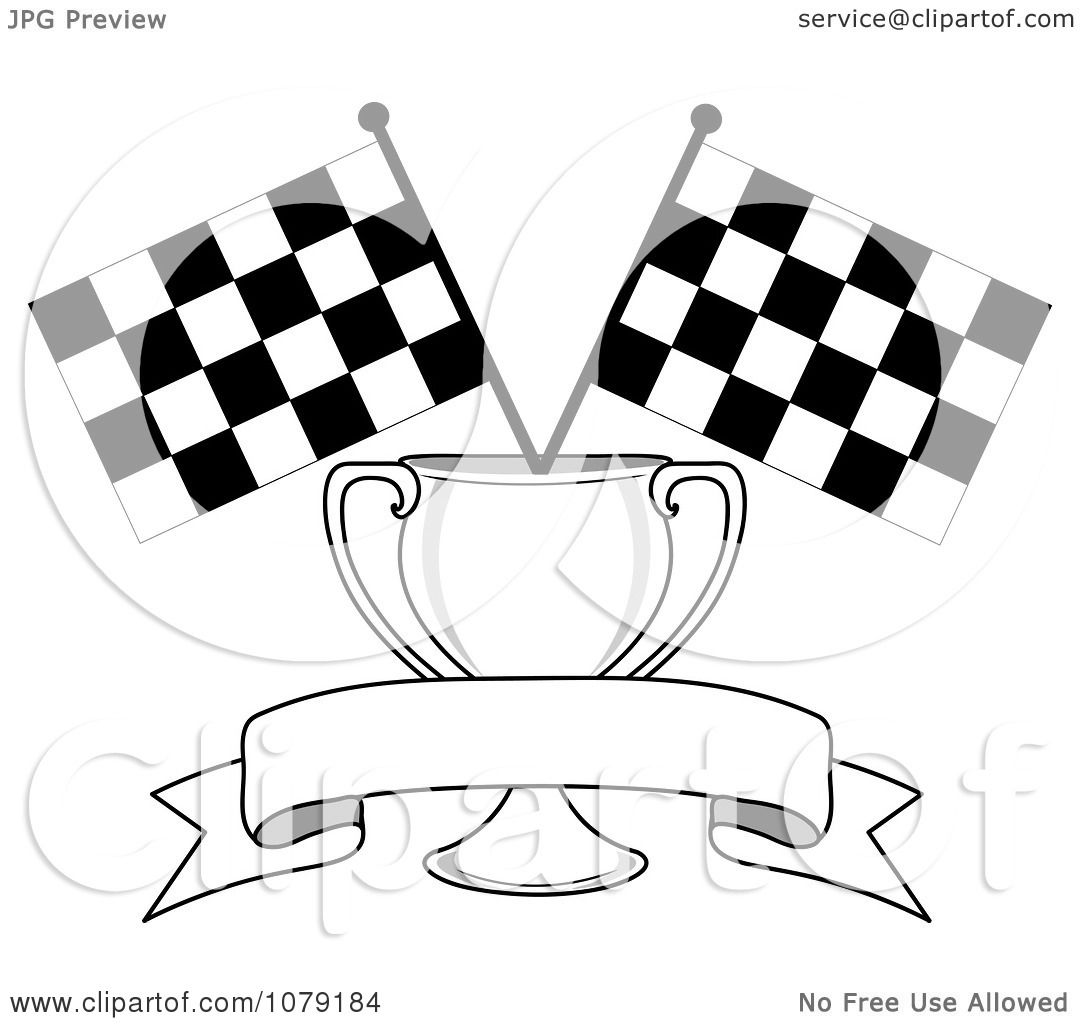 Clipart Blank Banner Trophy Cup And Two Checkered Race ...