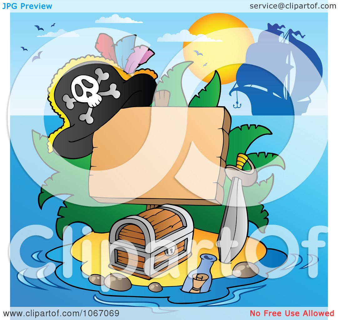 Clipart Blank Sign On A Treasure Island 2 Royalty Free