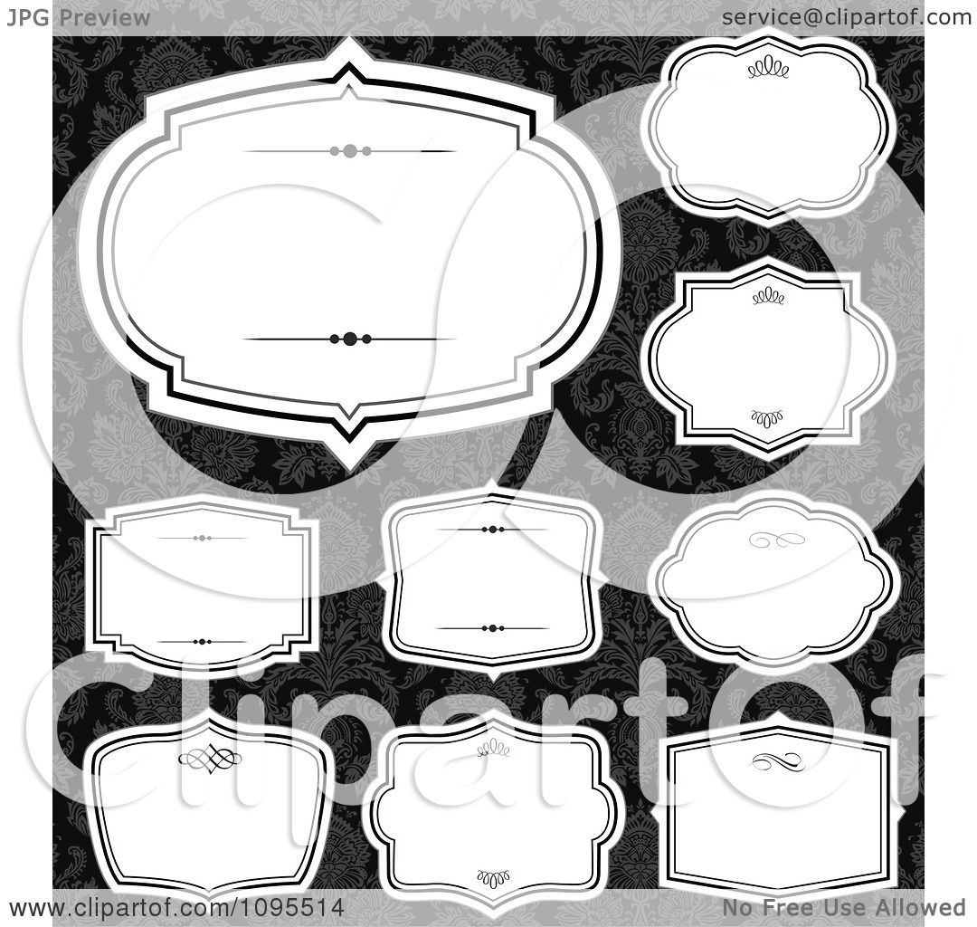 Clipart blank white frames over black and gray damask royalty clipart blank white frames over black and gray damask royalty free vector illustration by bestvector jeuxipadfo Gallery