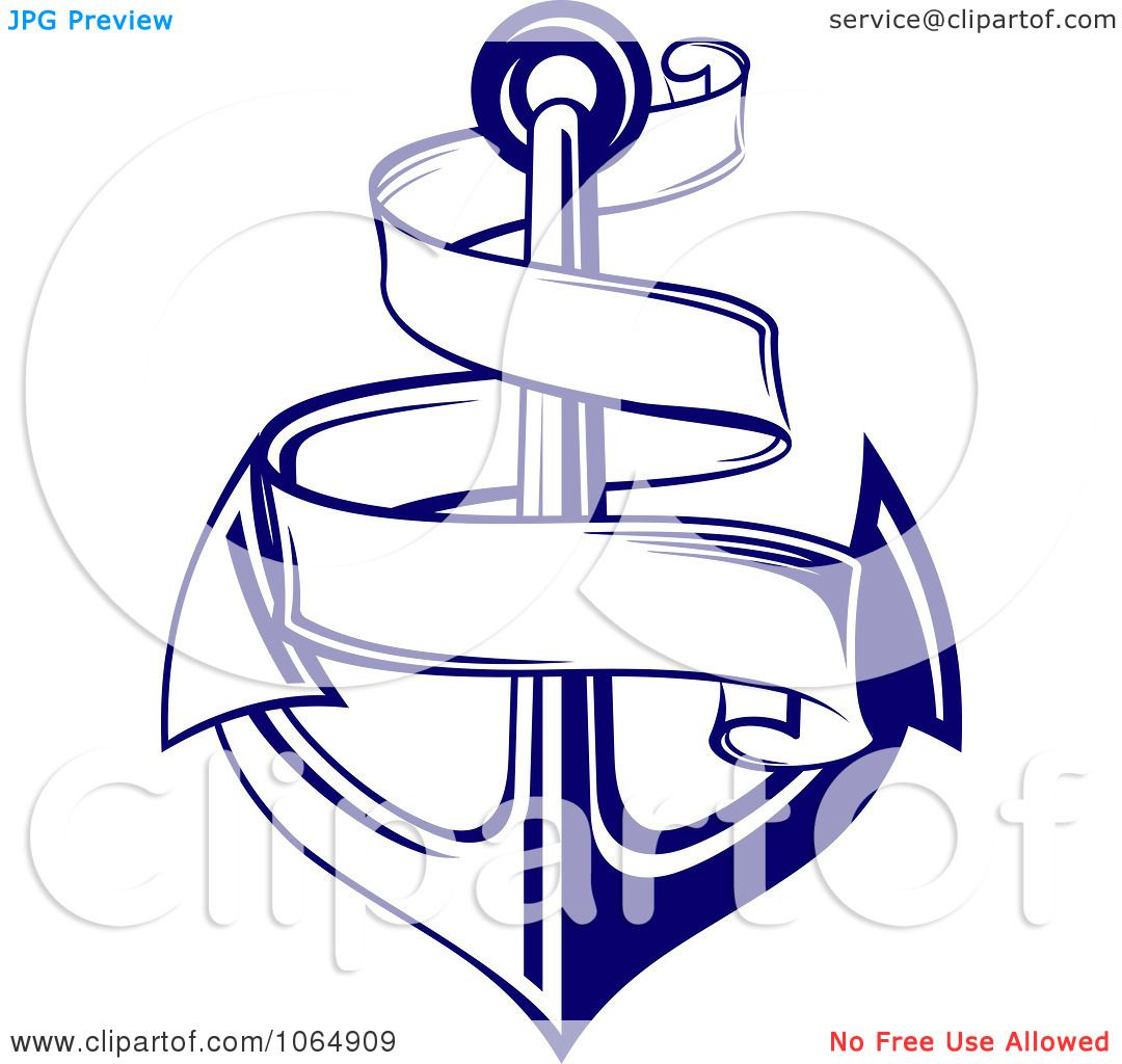 Clipart Blue Anchor And Banner