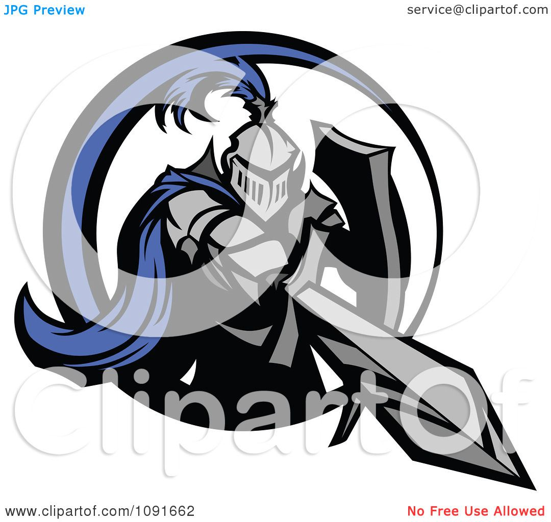 Clipart Blue And Gray Knight Stabbing With A Sword
