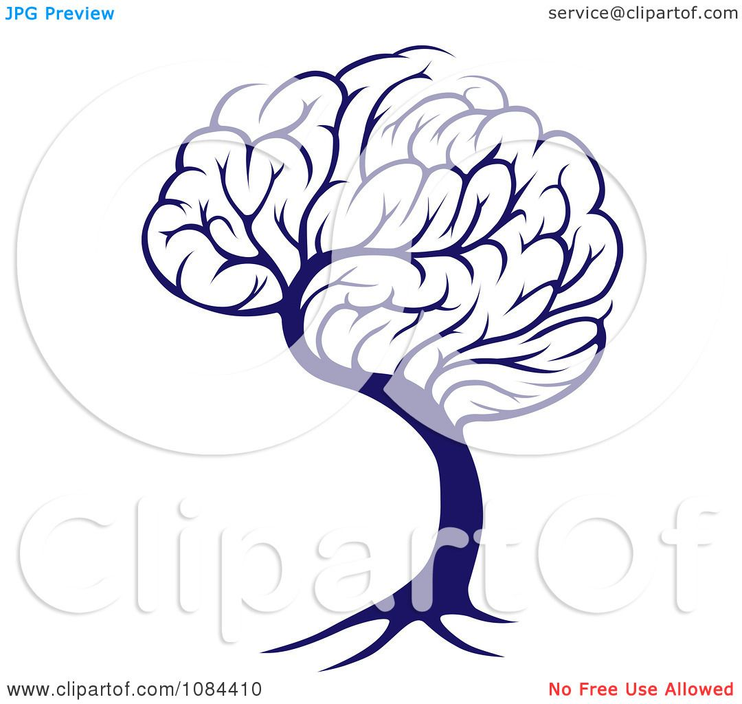Clipart Blue Brain Tree Royalty