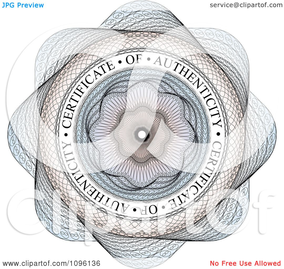 Clipart Blue Circular Certificate Of Authenticity Guilloche Seal ...