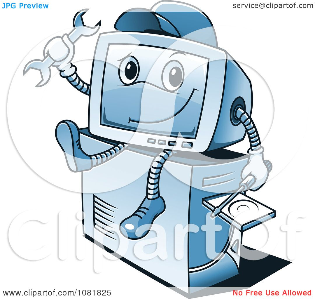 Clipart Blue Computer Repair Guy Sitting On A Tower ...Computer Repair Clip Art Black And White