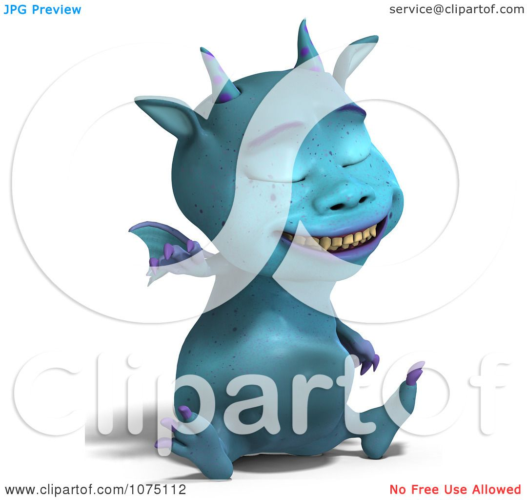 Clipart Blue Devil Dragon Laughing And Sitting - Royalty