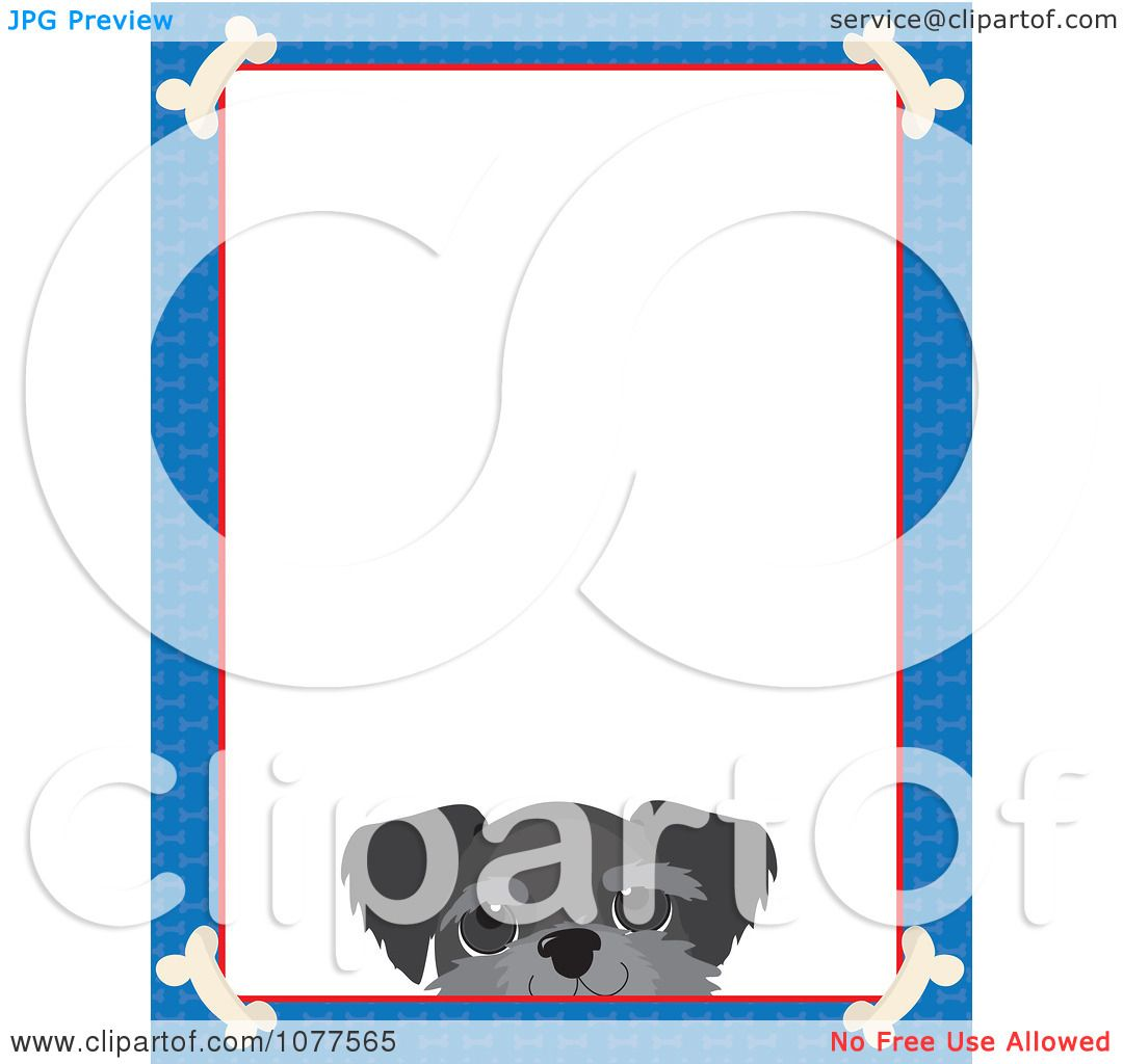 Clipart Blue Dog Bone Border And A Schnauzer Face With