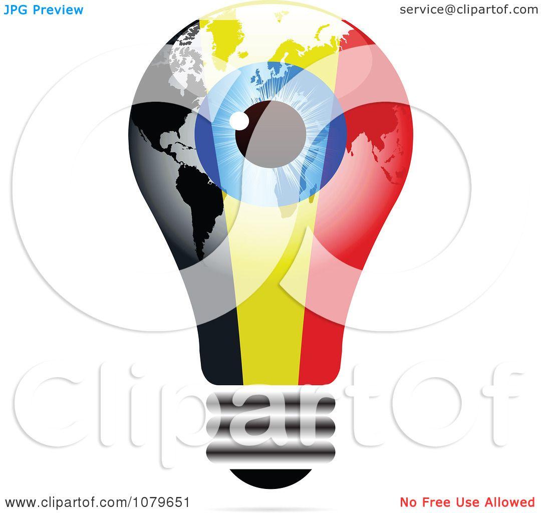 Clipart Blue Eye On A Belgium Light Bulb Royalty Free