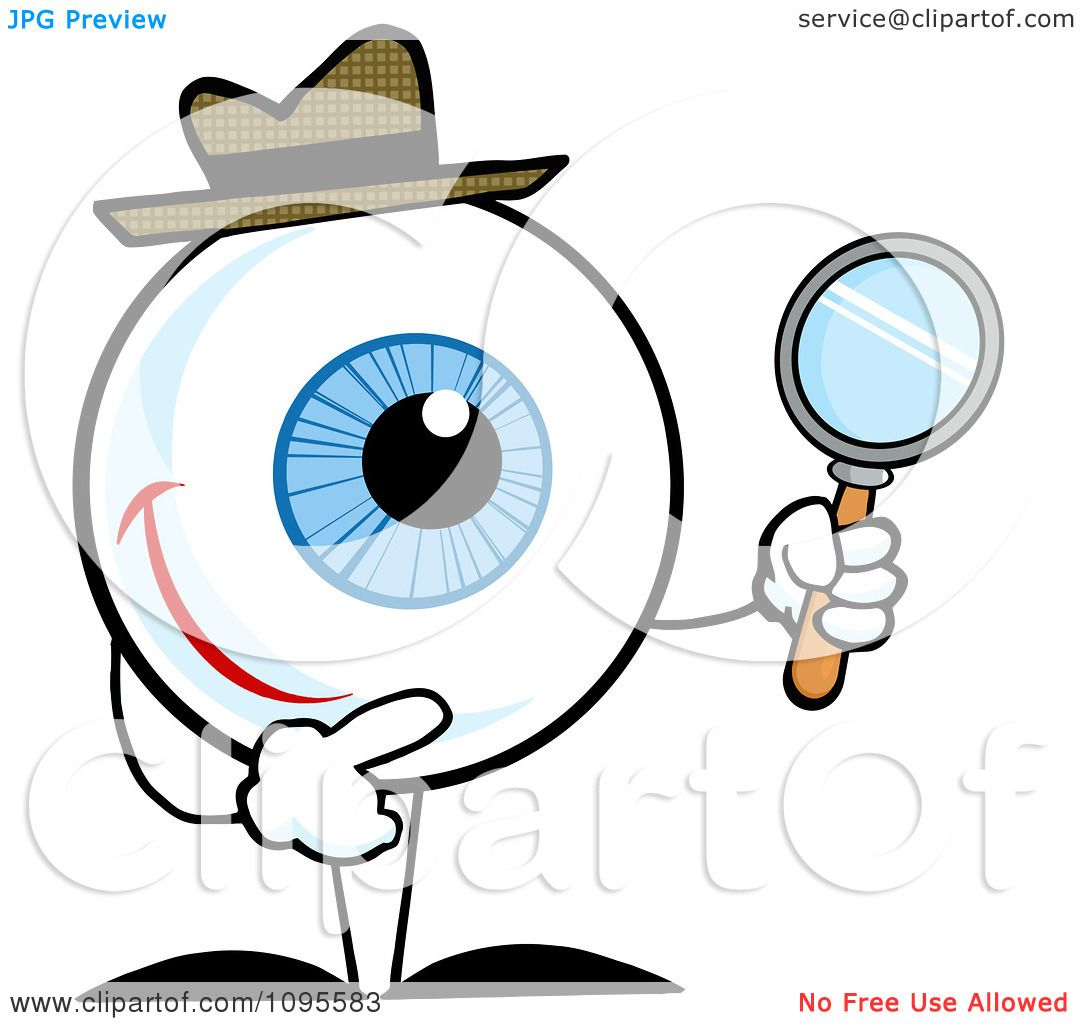Clipart Blue Eyeball Character Detective Holding A