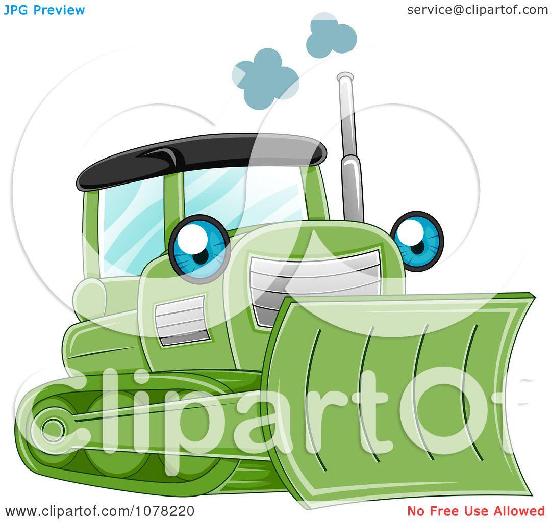 clipart blue eyed green bulldozer character royalty free vector illustration by bnp design. Black Bedroom Furniture Sets. Home Design Ideas