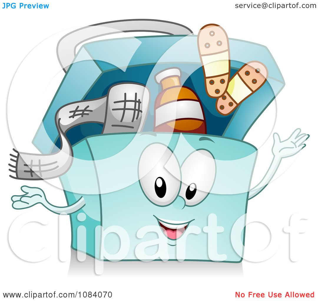 Clipart Blue First Aid Kit Character - Royalty Free Vector ...